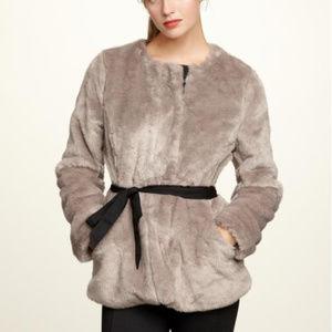 GAP Silver Fox Faux Fur Luxe Coat No Belt L
